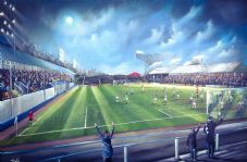 Greenock Morton - Cappielow Park - Morton v St Mirren  1997  UNFRAMED  original artwork 51cm x 76cm